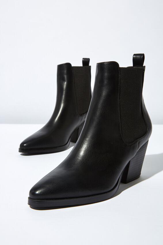 Sophia Gusset Boot, BLACK SMOOTH