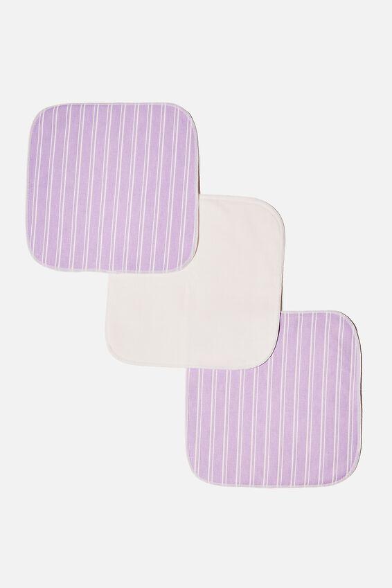 Reusable Face Washer 3Pk, LORETTA STRIPE/LILAC BLOSSOM