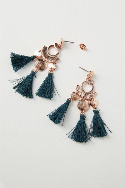 Party Tassel Earring, JUNE BUG/ROSE GOLD