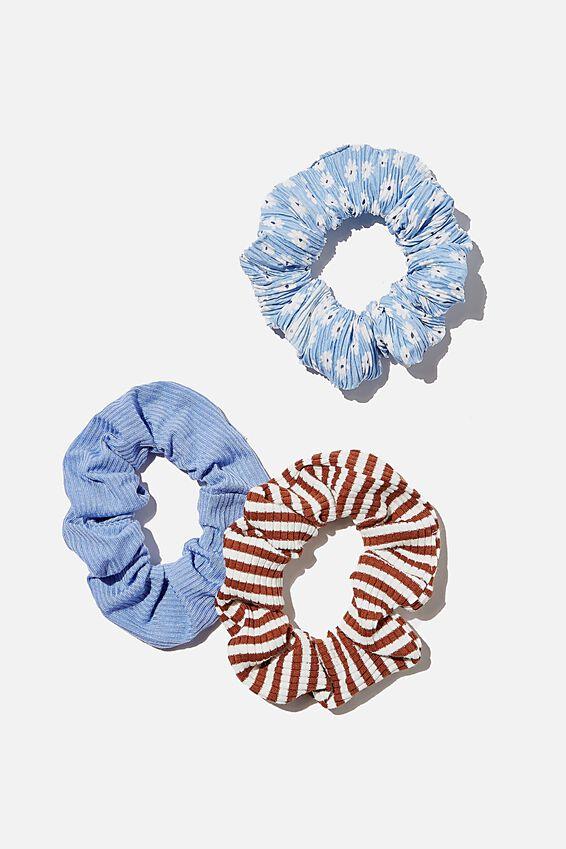 3Pk Scrunchies, SAGE GREEN DITSY RIB