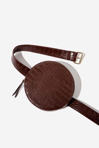 Maria Circle Belt Bag, CHOCOLATE CROC PRINT