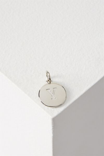 Letter Flat Pendant Charm, SILVER - Y