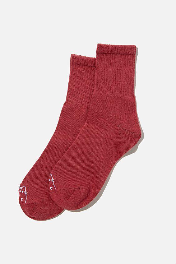 Fine Rib Sports Sock, LCN PUSH DEEP RED PUSHEEN