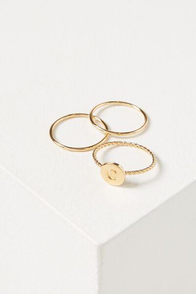 Letter Pendant Ring, GOLD - C
