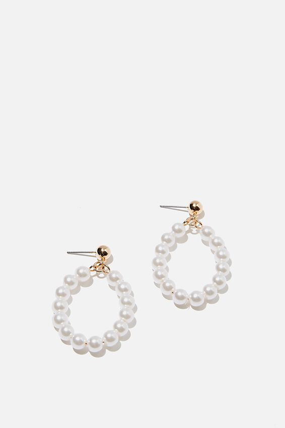 Beaded Loop Pearl And Gold Earring, GOLD/PEARL