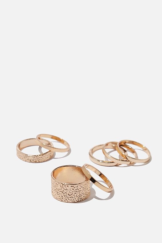 Luxe Layers Molten Ring Set, GOLD