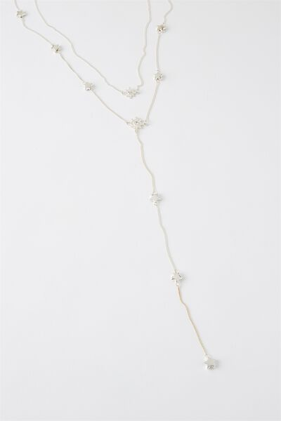 Luna Multi Layer Chain Necklace, SILVER