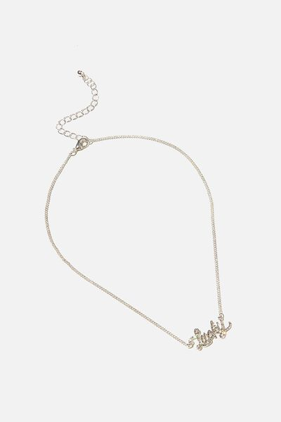 Brighter Days Pendant Necklace, LUCKY CRYSTAL SILVER