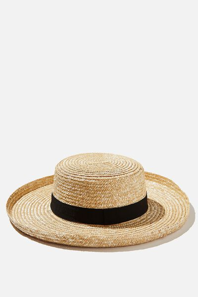 Emma Flipped Brim Straw Boater Hat, NATURAL