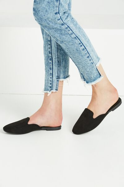 Sally Slipper Mule, BLACK MICRO