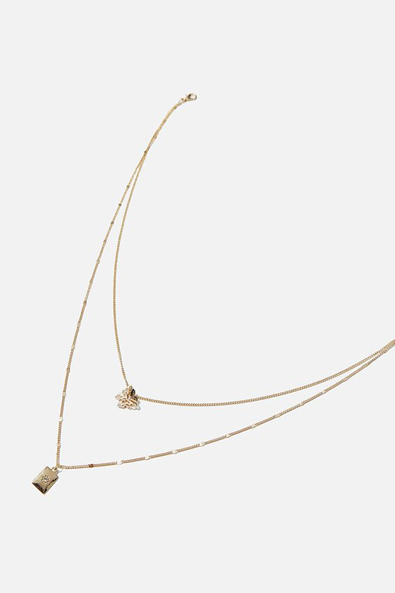 Luxe Layers Butterfly Tag Layered Necklace, GOLD