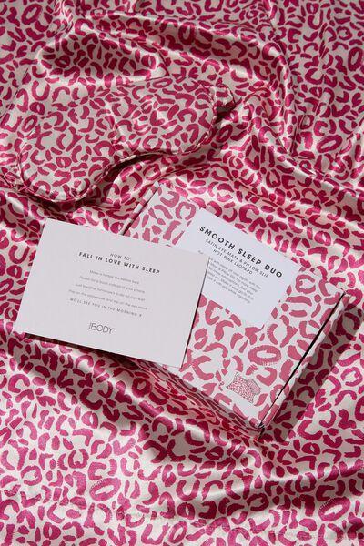 Body Home Spa | Satin Eyemask & Pillow Slip Set, HOT PINK LEOPARD
