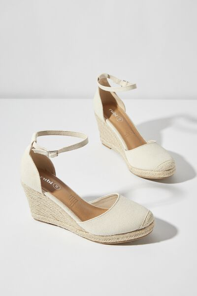 Florence Closed Toe Wedge, STONE CANVAS