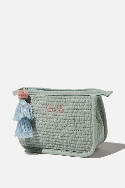 Personalised Small Quilted Pouch, WASHED MINT