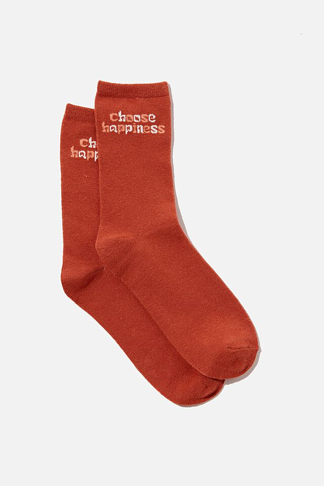 Carrie Crew Sock, EARTHY RED CHOOSE HAPPINESS