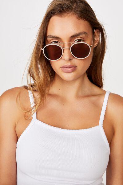 Demi Top Bar Metal Sunglasses, WHITE