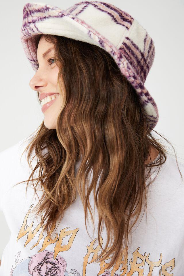 Bianca Bucket Hat, PETAL PINK BRUSHED CHECK