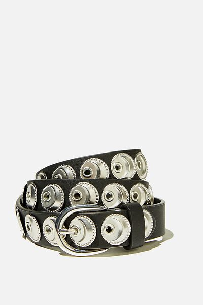 Wild Child Studded Belt, BLACK W SILVER