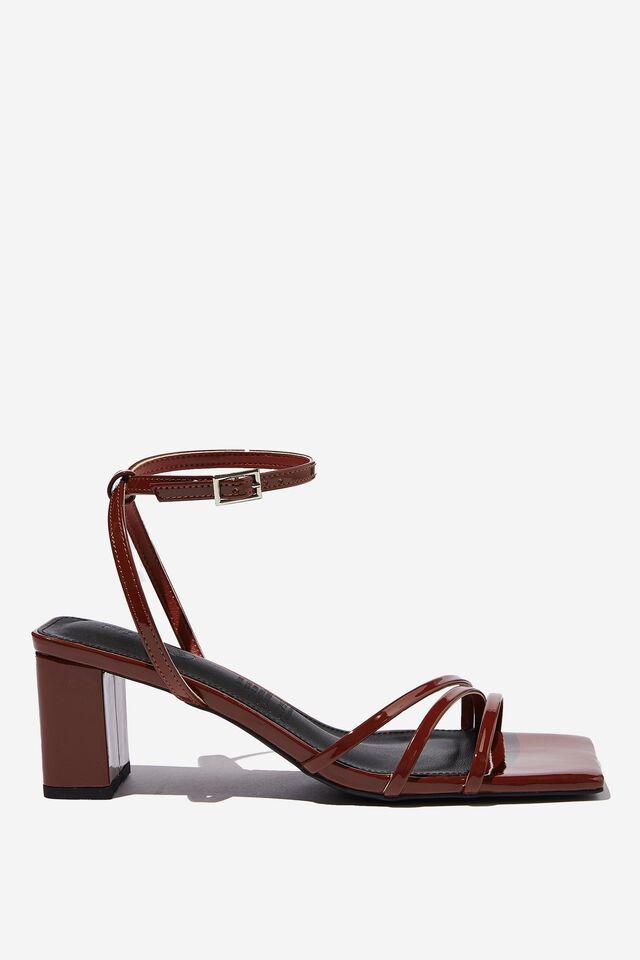 Liv Ankle Strap Low Block Heel, CHOC PATENT PU