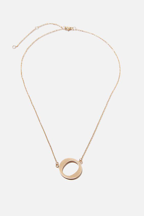 Tilted Letter Necklace, GOLD O