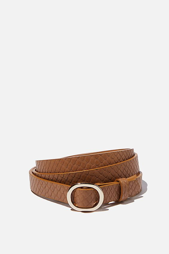 Mila Belt, TAN FAUX REPTILE
