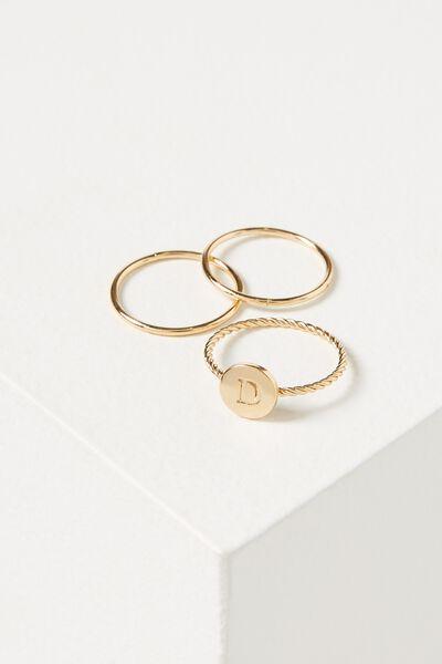 Letter Pendant Ring, GOLD - D