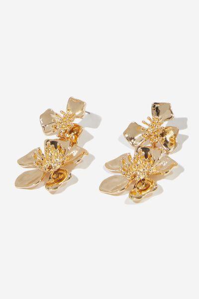 Sparkle Flower Drop Earring, GOLD/DIA