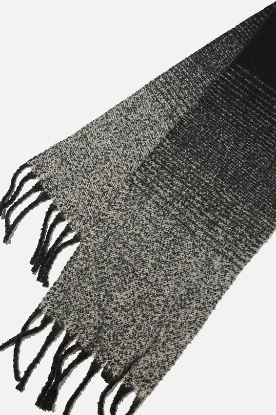 Poppy Brushed Tassel Scarf, BLACK/GREY OMBRE