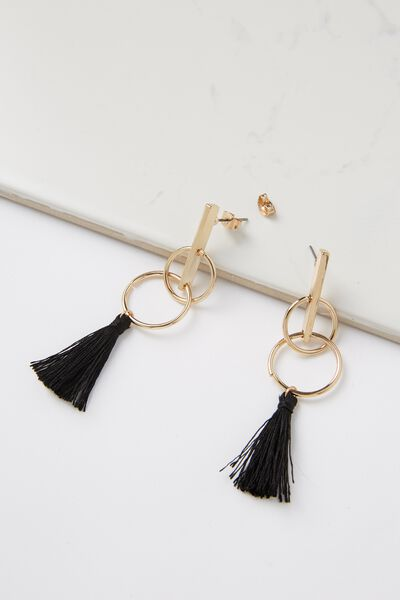 Double Hoop Bar Tassel Earring, BLACK/GOLD