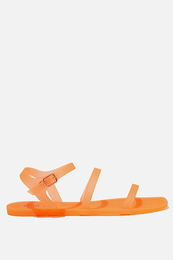 Triple Strap Jelly Sandal, NEON ORANGE