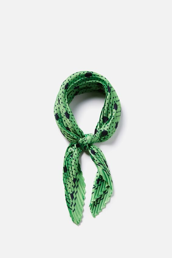 Soho Broadway Pleat Scarf, NEON GREEN/ECLIPSE SPOT