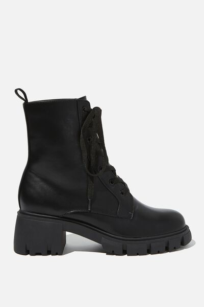Kendall Combat Lace Up Boot, BLACK SMOOTH