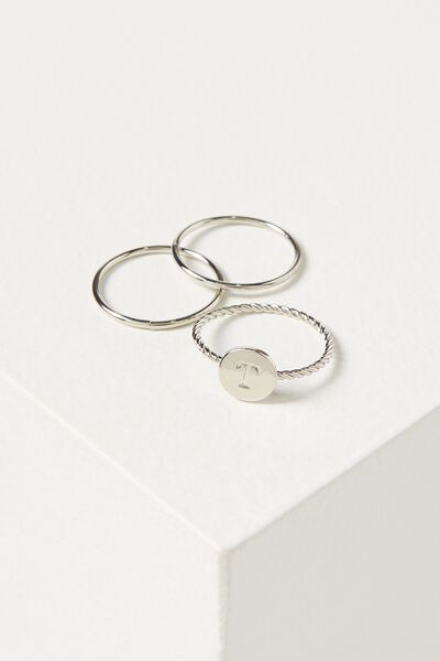 Letter Pendant Ring, SILVER - T