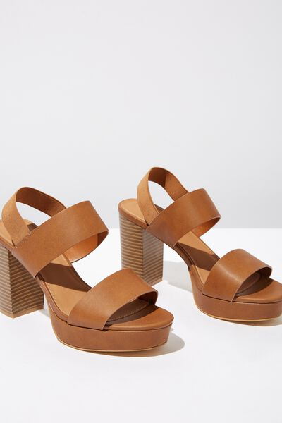 Ava Platform Heel, TAN SMOOTH