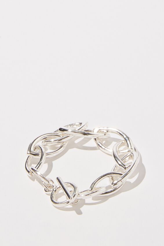 Luxe Layers Oval Links Bracelet, SILVER
