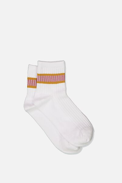 Quarter Crew Sock, WHITE ASH ROSE/MUSTARD STRIPE