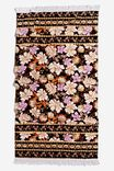 Bondi Rectangle Towel, BLACK SHELL FLORAL