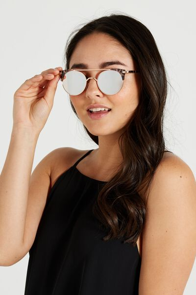 Florence Top Bar Sunglasses, R.ROSE GOLD W/S.MILKY CORAL