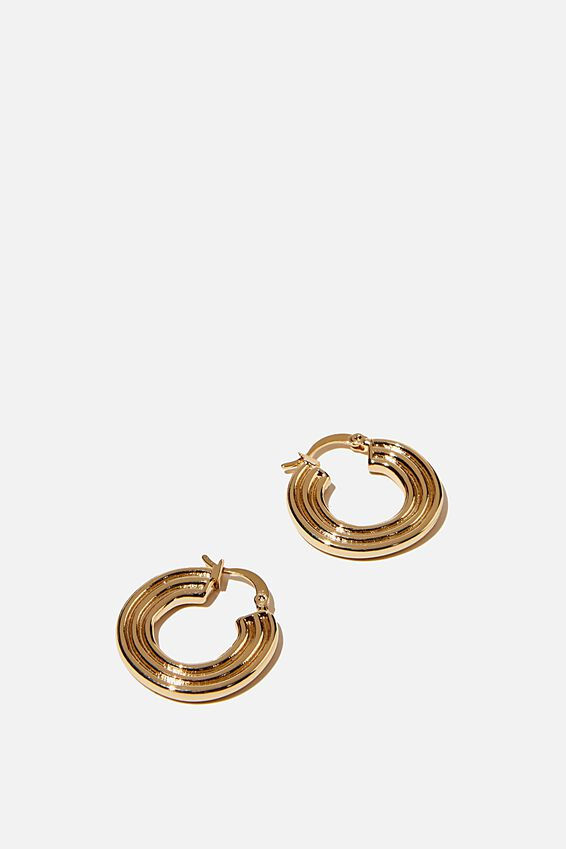 Noughties Hinge Hoop, RIDGE GOLD