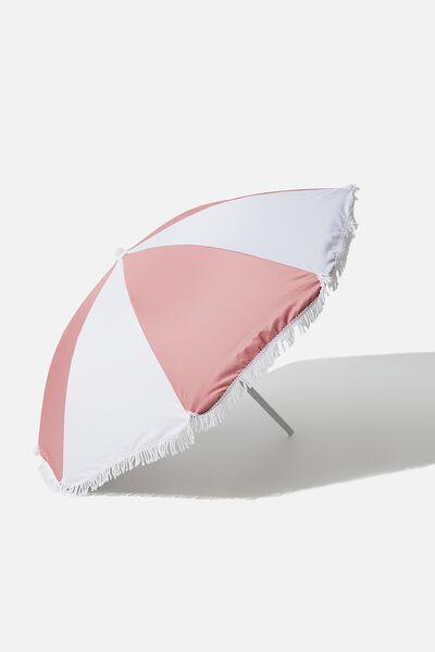 Coolum Beach Umbrella, HONEY PINK COLOUR BLOCK