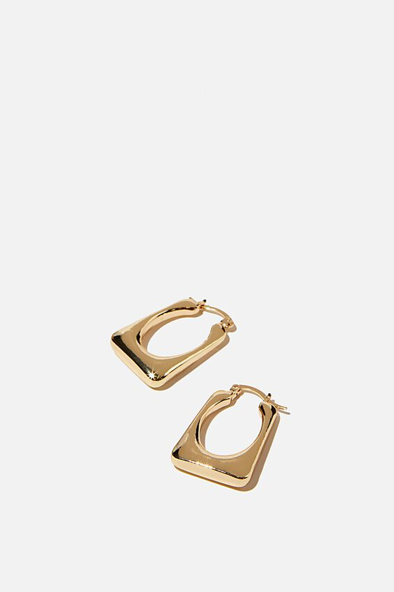 Noughties Hinge Hoop, RECTANGLE GOLD