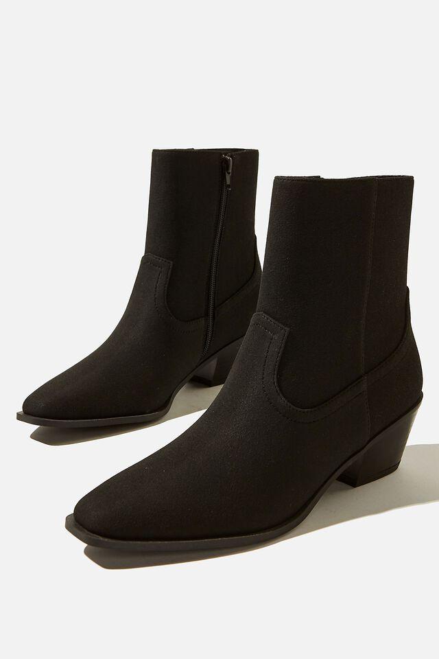 Marlie Minimal Western Boot, BLACK SUEDE PU