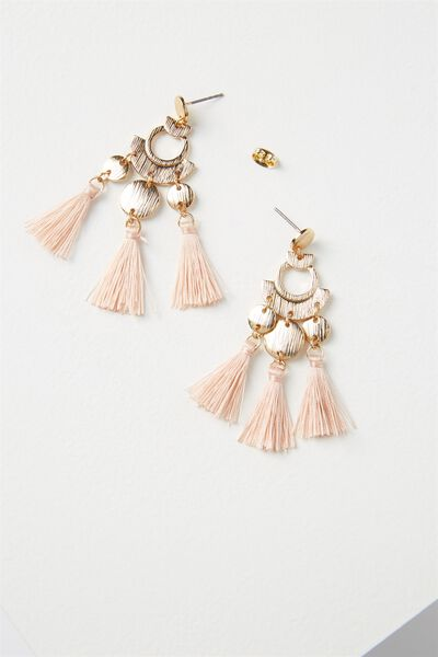 Party Tassel Earring, PINK/GOLD