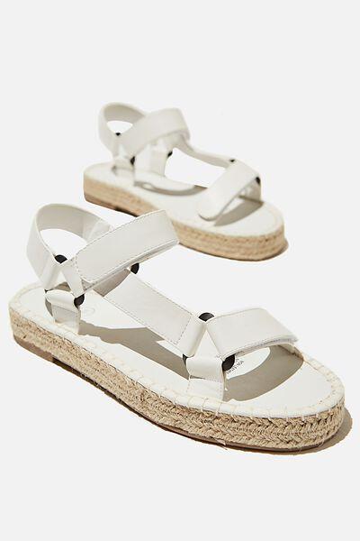 Sienna Sporty Espadrille Sandal, WHITE SMOOTH PU