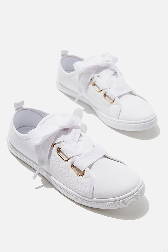 Penelope Lace Up Plimsoll, WHITE TWILL