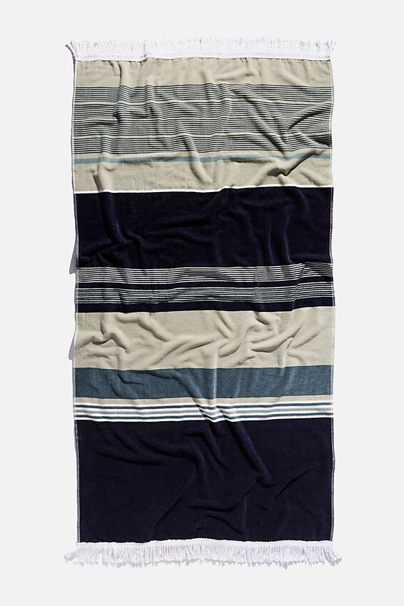 Bondi Rectangle Towel, DEEP AQUA FORESHORE STRIPE