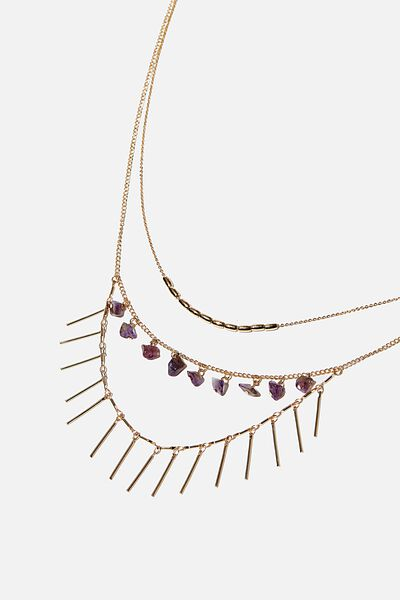 Endless Love Trinkets Necklace, GOLD/PURPLE