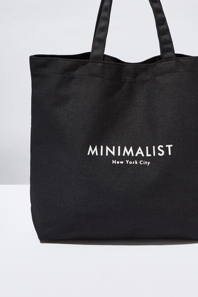 Minimalist Washed Tote, BLACK