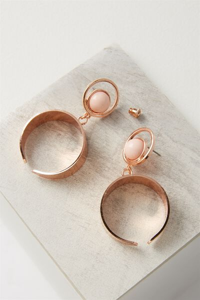 Moon Stud Statement Earring, ROSE GOLD/BLUSH