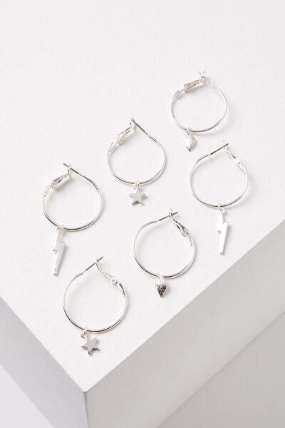 Ava Hoop Charms Pack, SILVER